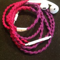 "Earbuds w/mic ""fuchsia & purple"" Tangle Free, Hand Wrapped Headphones Made for Apple iPhone 5, 5c, 5s, iPad, iPod, EarPods, Headphones"