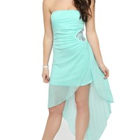 Strapless Glitter High Low Prom Dress with Rhinestone Applique Side