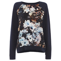 Buy Warehouse Smudge Floral Jumper, Navy Multi online at John Lewis