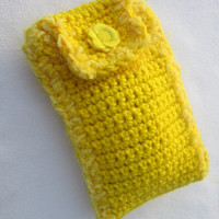 Crocheted Sunglass or Glasses Case - Bright Yellow