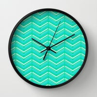 Teal and Yellow Chevron Pattern Wall Clock by T30 Gallery