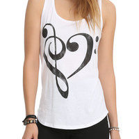 Music Notes Heart Girls Tank Top