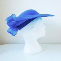 1980's Kangol Wide Brim Vintage Hat / Royal Blue / Wedding / Races / Occasion Wear