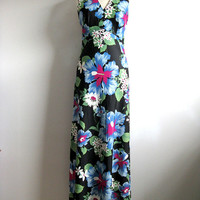 Vintage 1970s Summer Dress Hibiscus Blue Hawaiian Halter Maxi Beach Dress