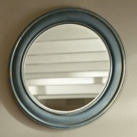 ANTIQUED PAINTED ROUND MIRROR