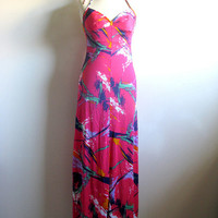 Vintage 1960s Dress Caron Hot Pink Maxi Halter Dress XS