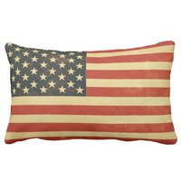 Distressed Effect American Flag Cotton Pillow