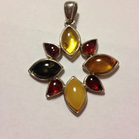 Amber Sterling Pendant Vintage Silver Green Yellow Brown Honey Baltic Polish Poland Southwestern Jewelry 925 Necklace Enhancer Slide Tribal