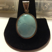 Dominican Larimar Sterling Pendant Vintage Silver Blue Stone Big Stamped Southwestern Boho Jewelry 925 Necklace Enhancer Slide Rare Huge Big