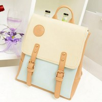 Womens Retro College Sweet Shoulder Bag PU Leather Backpack School Bag Satchel