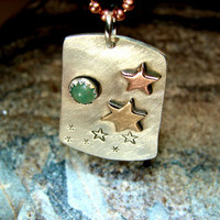 The stars shine brightly in sterling silver pendant with copper bronze and green aventurine