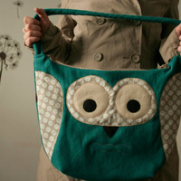 Spring Owl large purse teal with beige polka dots by ritaboth121