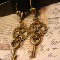 Antique Bronze Gears with Tiny Silver Heart Keys Steampunk Earrings (1663)