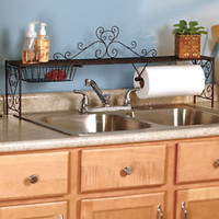 Bronze Color Over The Sink Shelf Storage Kitchen Organizer Paper Towel Holder