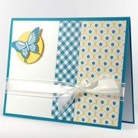 Blue Butterfly Handmade Any Occasion Card And Designer Patterned Paper | cardsbylibe - Cards on ArtFire