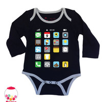 SALE funny bodysuit i baby i phone black by SugarBabyLove