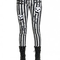 Moto Pants - Stripe Skulls :: VampireFreaks Store :: Gothic Clothing, Cyber-goth, punk, metal, alternative, rave, freak fashions