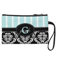 Black Damask Aqua Stripe Monogram Wristlet Bag