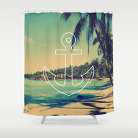 Vintage Summer Anchor Shower Curtain by RexLambo