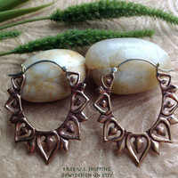 "Tribal Hanging Earrings, ""Copper Leaves"" Copper, Brass/Sterling Posts, Handcrafted"