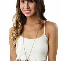 White Crochet Trim Tank