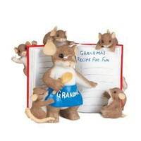 Charming Tales Grandma Mouse with recipe book Figurine 2.75""