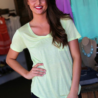 Boyfriend Pocket Tee {Lime}