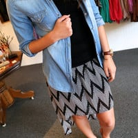 Hi-Low Chevron Skirt