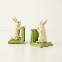 Handpainted Bunny Bookends by Anthropologie Green Motif One Size Bookends