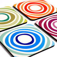Coasters drink coasters rainbow colorful bright circles swirls kitchen table dining entertaining hostess chef