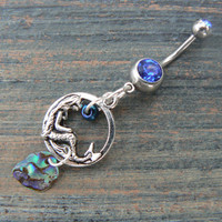 abalone mermaid belly ring mermaid siren charm abalone spring break in fantasy boho gypsy hippie belly dancer beach and hipster style