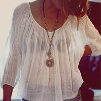 Free People Womens FP ONE String Me On Blouse -