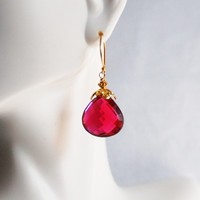 AAA Rubelite Quartz Dangle Drop Earrings – Wedding Jewelry – Bridal Accessories – Mother's Day » Craftori
