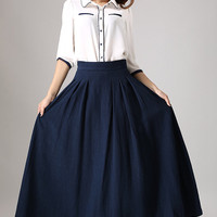 Blue skirt woman long linen skrit maxi pleated skirt with seam detailing waist (855)