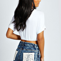 Crochet Back Pocket Denim Shorts