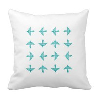 Teal Tribal Bird Pillow