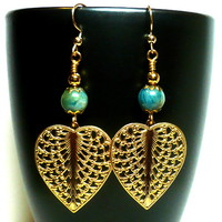 Blue Green Apatite, Via Murano Filigree Gold Heart Chandelier Earrings