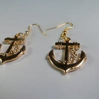 Nautical Gold Tone Anchor Earrings