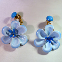 Vintage Blue Enamel Painted Dangle Flower Daisy Earrings Clip on Costume Jewelry Perfect for Spring or Easter
