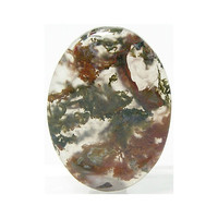 Green and Red Moss Agate Mineral Plumes rising in Clear Gem Agate Stone Calibrated Flat Back Cabochon