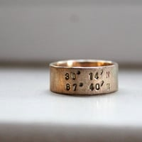 Rustic Solid Gold Latitude Longitude Wedding Band Ring