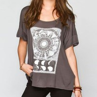 Young Romantics Moon Sign Womesn Tee Grey  In Sizes