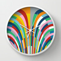 Rainbow Bricks Wall Clock by Project M
