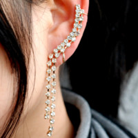 Water Stream Rhinestone Ear Cuff(Single, No Piercing)