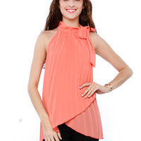 Papaya Clothing Online :: NECK BOW CHIFFON DRESSY TOP