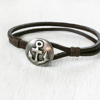 Leather Bracelet with Charm / Anchor Bracelet / Star Bracelet / Gun Bracelet / Wolf Bracelet (Many charms to choose)