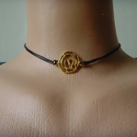 Heart Choker Leather Choker