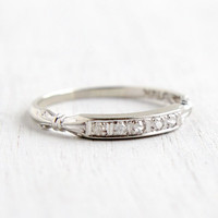 Antique 18k White Gold Diamond Wedding Band Ring - Art Deco 1930s Decorative Shoulders Fine Jewelry