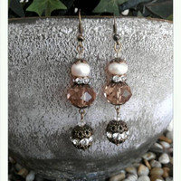 "Victorian style 2 and 3/4"" long OOAK dangle earrings with antique gold, pearls, and crystals by ABBG Designs."