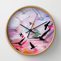 Feed the Birds Wall Clock by Laura Santeler